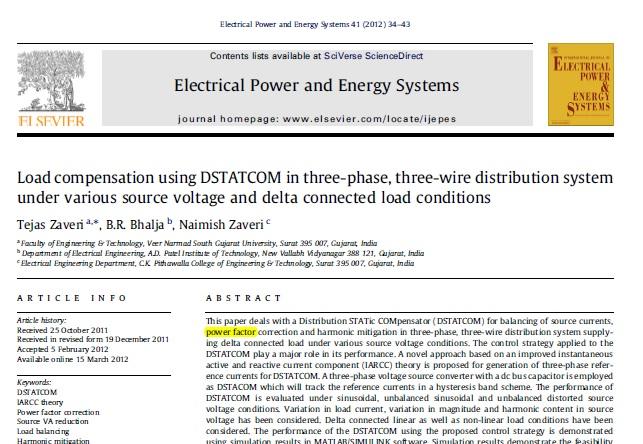 جبرانسازی بار با استفاده از DSTATCOM در سیستم توزیع سه فاز سه سیمه تحت شرایط مختلف منبع ولتاژ و بار متصل شده مثلث