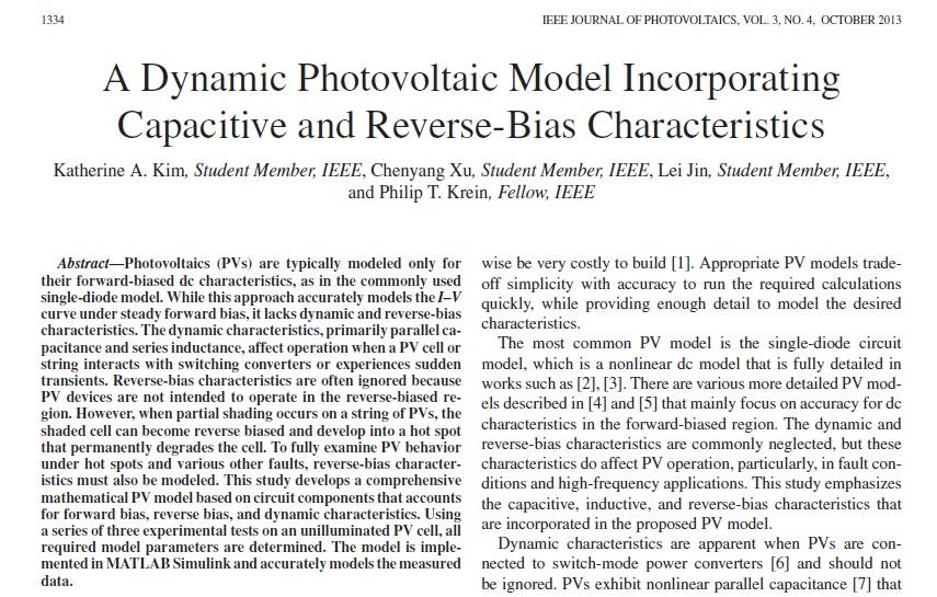 مدل فتوولتائیک دینامیک شامل ویژگی ظرفیت خازنی و بایاس معکوس