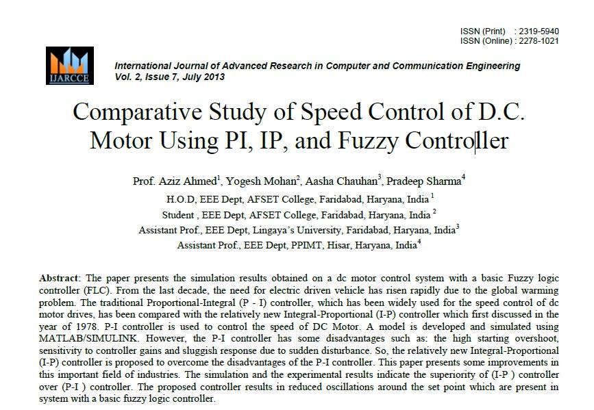 بررسی مقایسه ای کنترل سرعت موتور DC با استفاده از PI، IP، و کنترل فازی