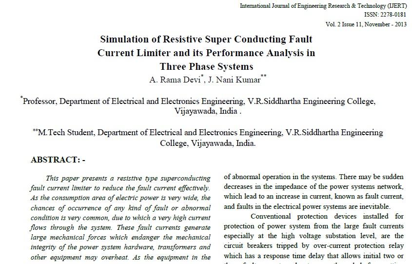 شبیه سازی مقاومت تاثير محدود كننده جريان خطا SFCL تحلیل عملکرد در سیستم سه فاز