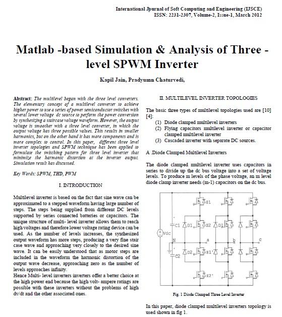 شبیهسازی و تحلیل اینورتر SPWM سه سطحی در نرمافزار متلب