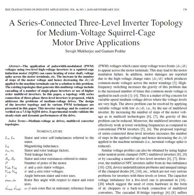 توپولوژی یک اینورتر سه فاز با اتصال-سری برای کاربردهای درایو موتور قفس-سنجابی ولتاژ-متوسط
