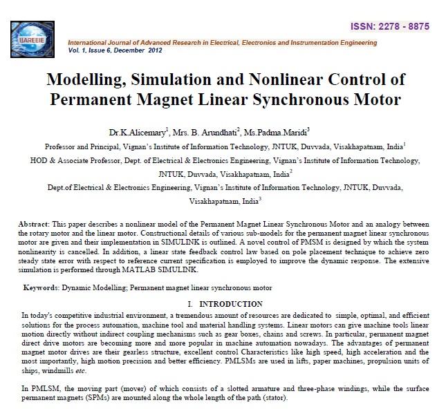 مدلسازی، شبیه سازی و کنترل غیر خطی موتور سنکرون خطی آهنربای دائم