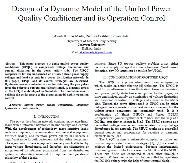 طراحی یک مدل دینامیک از جبرانساز یکپارچه کیفیت توان(UPQC) و کنترل بهره برداری آن