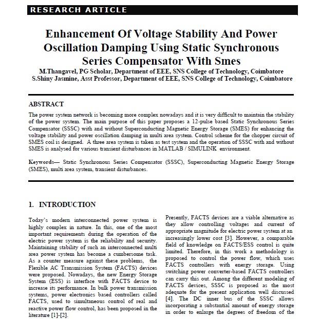 افزایش پایداری ولتاژ و افت فشار نوسان برق با استفاده از سیستم جرقه زنی سری سینماتیک استاتیک