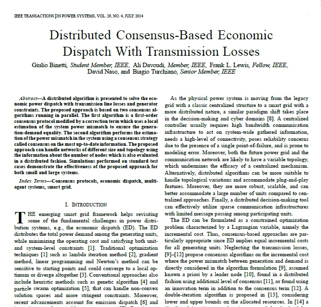 اجماع توزیع شده مبتنی بر پخش بار اقتصادی با تلفات انتقال