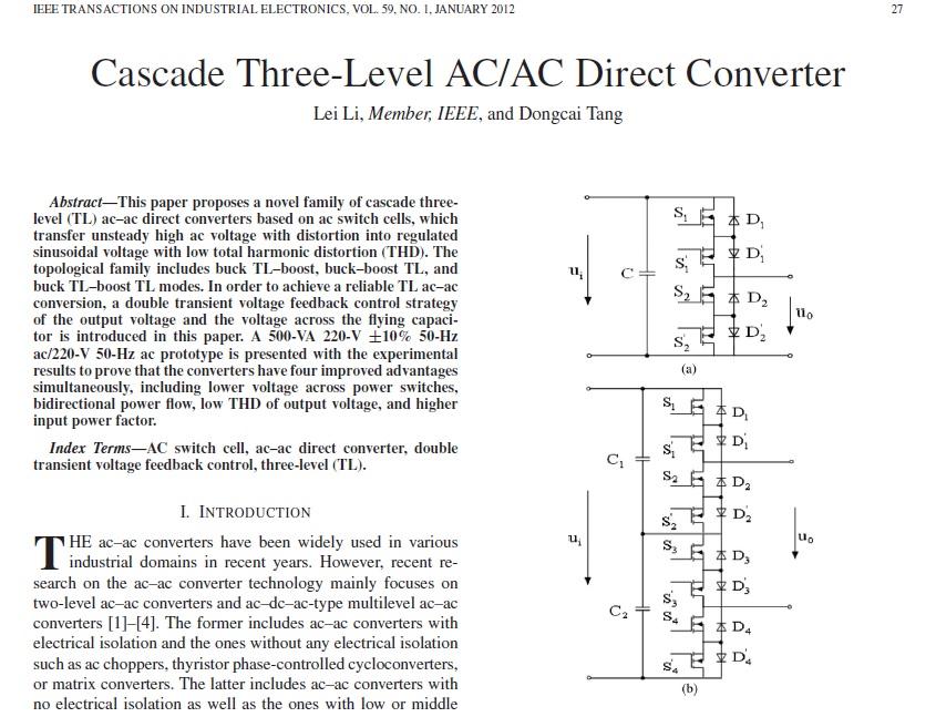مبدل AC/AC مستقیم سه سطحی آبشاری