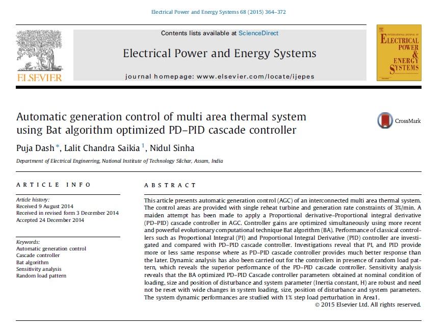 کنترل تولید اتوماتیک در سیستم حرارتی چندناحیه ای با استفاده از الگوریتم خفاش بهینهشده با کنترلر طبقهای PD-PID