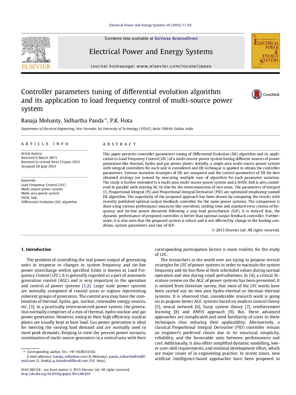 تنظیم پارامترهای کنترلر الگوریتم تکامل تفاضلی و کاربرد آن در کنترل بار فرکانس سیستم قدرت چندمنبعی