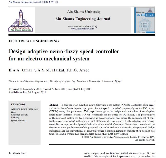 طراحی کنترلر سرعت فازی-عصبی تطبیقی برای یک سیستم الکترومکانیکی