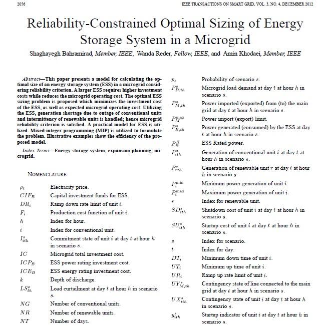 تعیین اندازه بهینه سیستم ذخیره سازی انرژی (ESS) با در نظر داشتن قابلیت اطمینان، در یک ریزشبکه