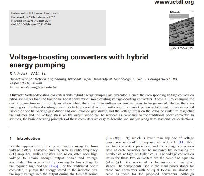 شبیه سازی مقاله مبدل های تقویت کننده ولتاژ با پمپاژ انرژی هیبریدی