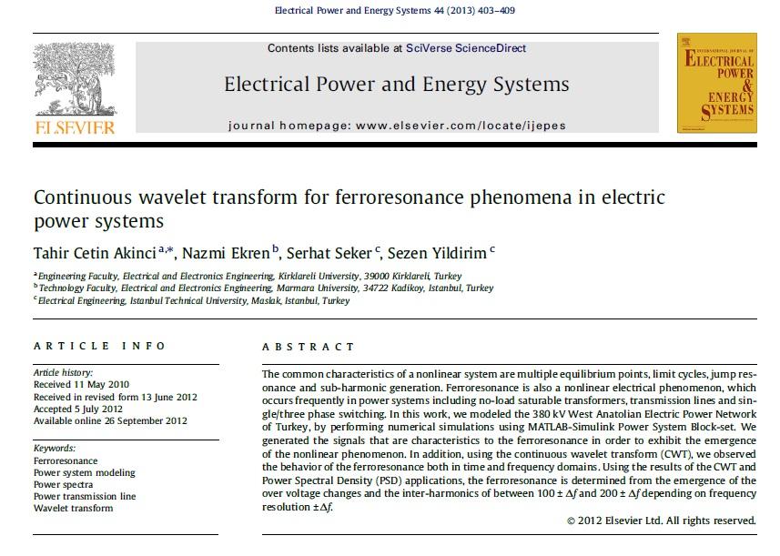 تبدیل موجک پیوسته برای پدیده فرورزونانس در سیستمهای قدرت