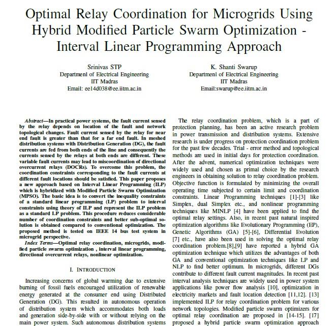 هماهنگی رله بهینه برای میکروگرید ها با استفاده از بهینه سازی ذرات اصلاح شده هیبرید - رویکرد برنامه ریزی خطی درونی