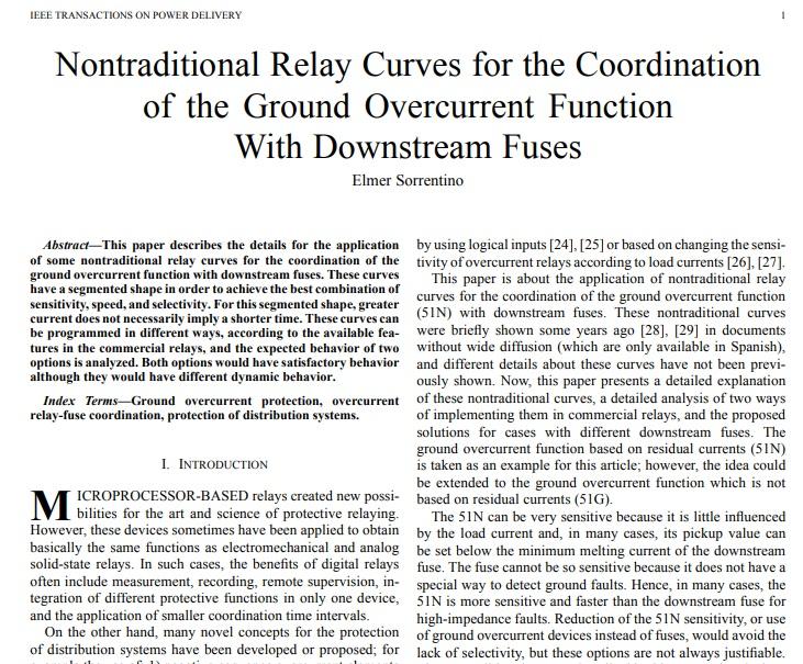 هماهنگی منحنی های رله های جدید برای عملکرد بیش از حد جریان خطای اتصال کوتاه با فیوزهای پایین دست