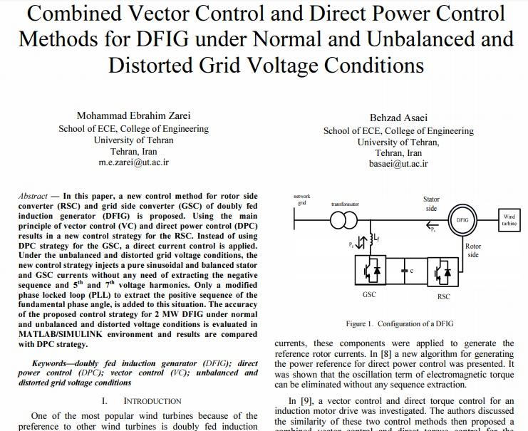 روش های کنترل ترکیبی برداری و کنترل مستقیم توان برای DFIG تحت شرایط ولتاژ شبکه عادی و انحرافی