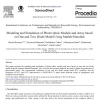 Modeling and Simulation of Photovoltaic Module and Array based on One and Two Diode Model Using Matlab/Simulink