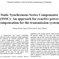 Static Synchronous Series Compensator(SSSC): An approach for reactive power compensation for the trnsmission system