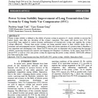 (Power System Stability Improvement of Long Transmission Line System by Using Static Var Compensator (SVC