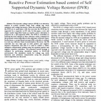 (Reactive Power Estimation based control of Self Supported Dynamic Voltage Restorer (DVR