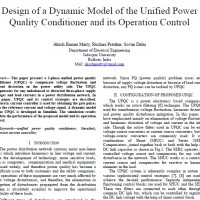 Design of a Dynamic Model of the Unified Power Quality Conditioner and its Operation Control