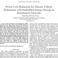شبیه سازی مقاله Power Loss Reduction for Electric Vehicle Penetration with Embedded Energy Storage in Distribution Networks