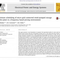 شبیه سازی مقاله Optimum scheduling of micro grid connected wind-pumped storage hydro plant in a frequency based pricing environment