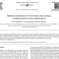 شبیه سازی مقاله Optimal coordination of overcurrent relays using a modified particle swarm optimization