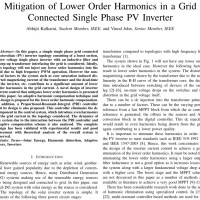 شبیه سازی مقاله Mitigation of Lower Order Harmonics in a Grid Connected Single Phase PV Inverter