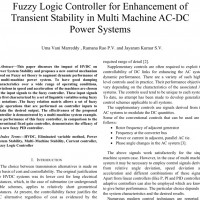 شبیه سازی مقاله Fuzzy Logic Controller for Enhancement of Transient Stability in Multi Machine AC-DC Power Systems