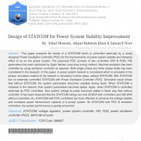شبیه سازی مقاله Design of STATCOM for Power System Stability Improvement