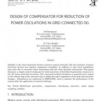 شبیه سازی مقاله DESIGN OF COMPENSATOR FOR REDUCTION OF POWER OSCILLATIONS IN GRID CONNECTED DG
