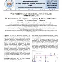 شبیه سازی مقاله TWO PHOTOVOLTAIC CELL SIMULATION MODELS IN MATLAB/SIMULINK