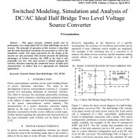 شبیه سازی مقاله Switched Modeling Simulation and Analysis of DC/AC Ideal Half Bridge Two Level Voltage Source Converter
