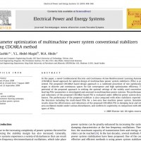 شبیه سازی مقاله Parameter optimization of multimachine power system conventional stabilizers using CDCARLA method