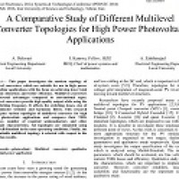 شبیه سازی مقاله A Comparative Study of Different Multilevel Converter Topologies for High Power Photovoltaic Applications