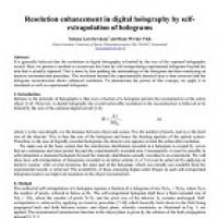 شبیه سازی مقاله Resolution enhancement in digital holography by self- extrapolation of holograms