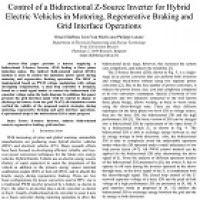 شبیه سازی مقاله Control of a Bidirectional Z-Source Inverter for Hybrid Electric Vehicles in Motoring, Regenerative Braking and Grid Interface Operations