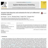 شبیه سازی مقاله Actuator fault detection and estimation for the Lure differential inclusion system