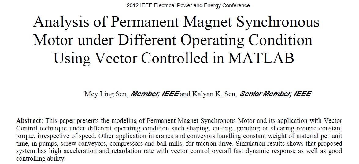 تجزیه و تحلیل موتور سنکرون آهنربای دائم تحت شرایط مختلف بهره برداری با استفاده از بردار کنترل در MATLAB