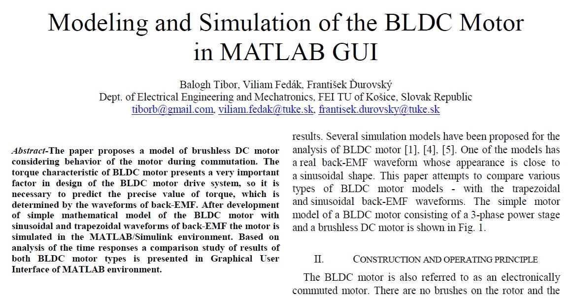 مدلسازی و شبیه سازی از موتورBLDCدر رابط کاربری گرافیکی MATLAB