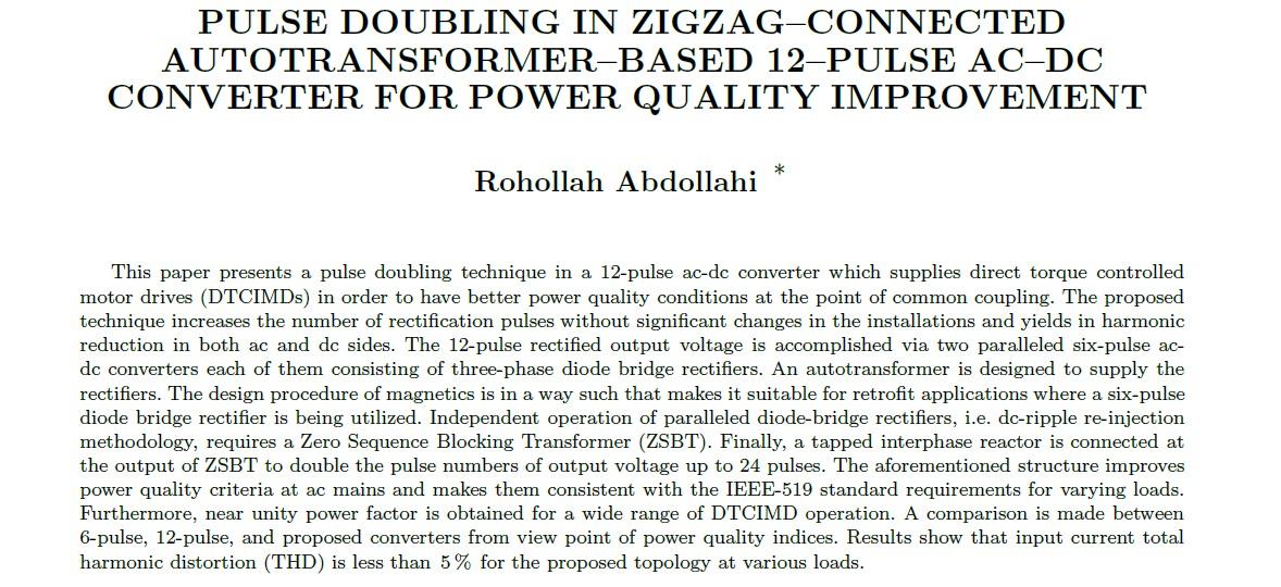 دو برابر شدن پالس در اتصال زیگزاگ بر اساس مبدل AC–DC-مبدل ۱۲ پالس برای بهبود کیفیت توان
