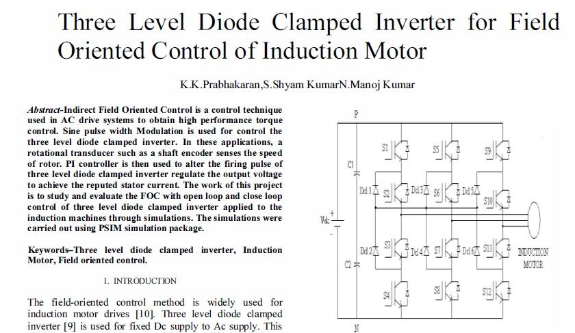 اینورتر سه سطح دیود متصل برای FOC موتور القایی