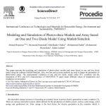 مدلسازی و شبیه سازی ماژول فتوولتائیک و آرایه بر اساس مدل یک و دو دیود با استفاده از MATLAB / SIMULINK