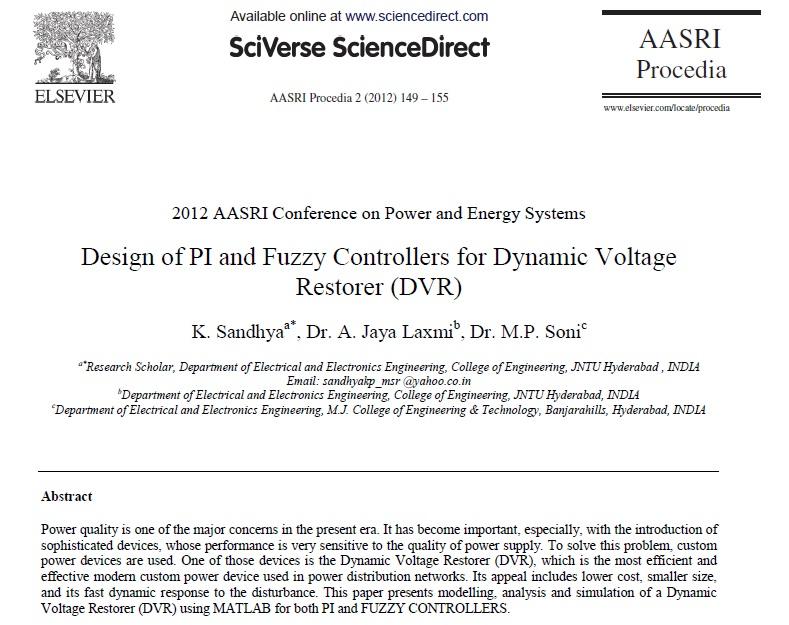 طراحی از PI و Fuzzy برای کنترل بازگرداننده دینامیکی ولتاژ (DVR)