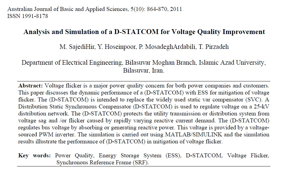 تجزیه و تحلیل و شبیه سازی D-STATCOM برای بهبود کیفیت ولتاژ