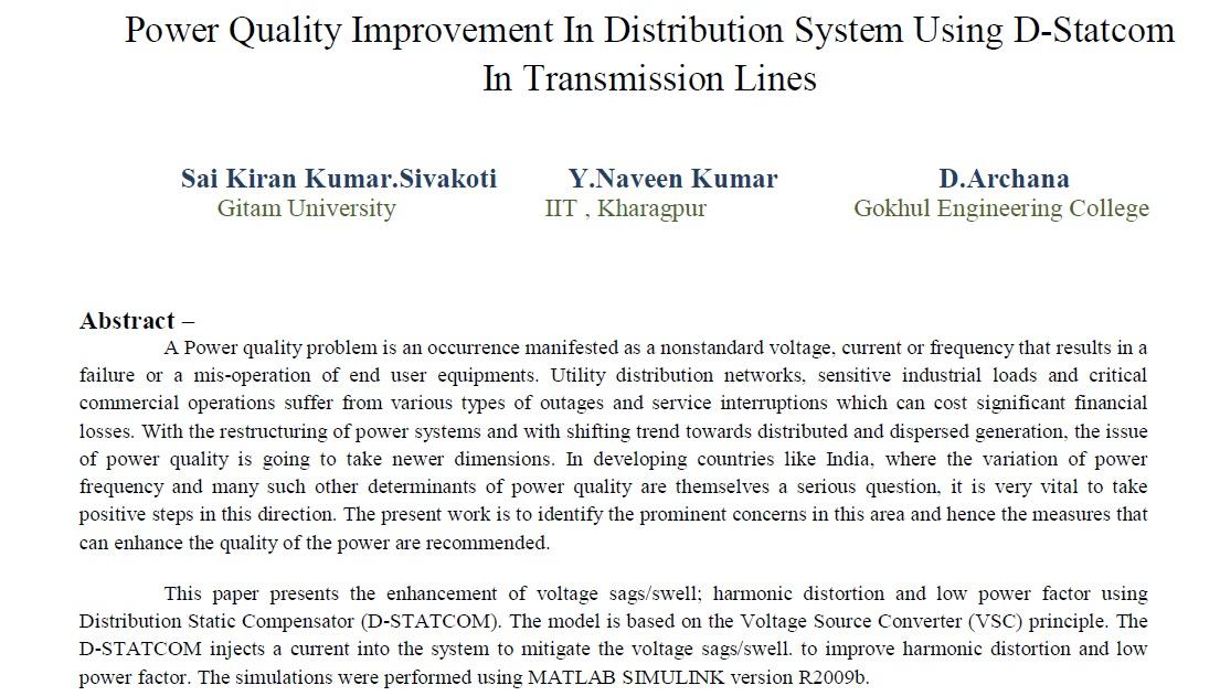 بهبود کیفیت توان در سیستم توزیع با استفاده از D-STATCOM در خطوط انتقال