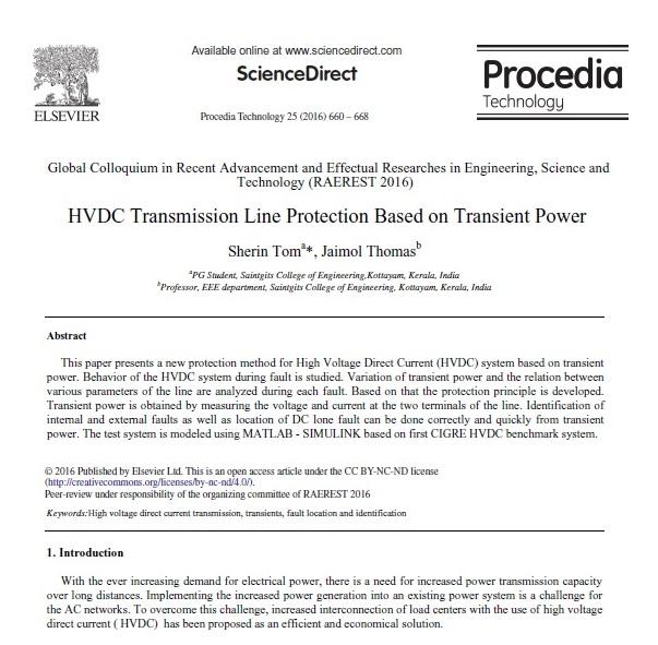 حفاظت خط انتقال HVDC مبتنی بر توان حالت گذرا