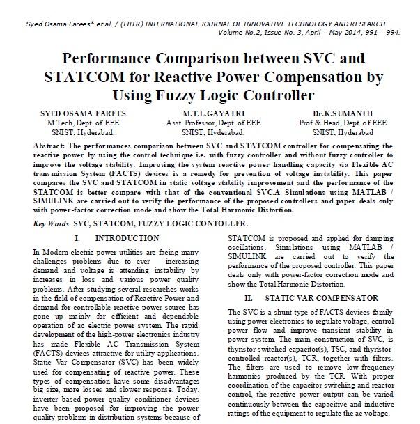 مقایسه عملکرد بین SVC و STATCOM برای جبران توان راکتیو با استفاده از کنترل کننده فازی