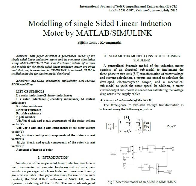 مدلسازی تک طرفه موتور القایی خطی توسط نرم افزار MATLAB/SIMULINK